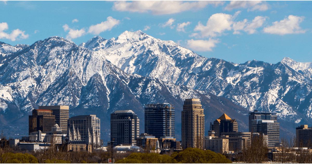 Pohľad na mesto Salt Lake City kde sa konali zimné olympijské hry v roku 2002.